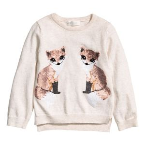H&M soft cream sweater with sequined foxes print